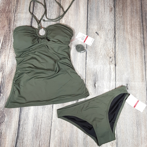 MICHAEL Michael Kors Other - Michael Kors logo ring tankini XS army green NWT